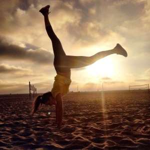 Handstands on Santa Monica Beach at sunset